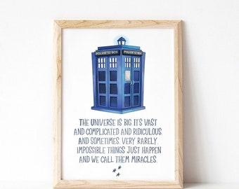 Doctor Who Quote || Tardis || Universe || Wall Art || Nursery Print