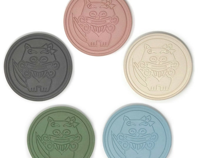 Coaster made of roof tile clay from Okinawa | Made In Japan | Mom Shisa (Deformed)