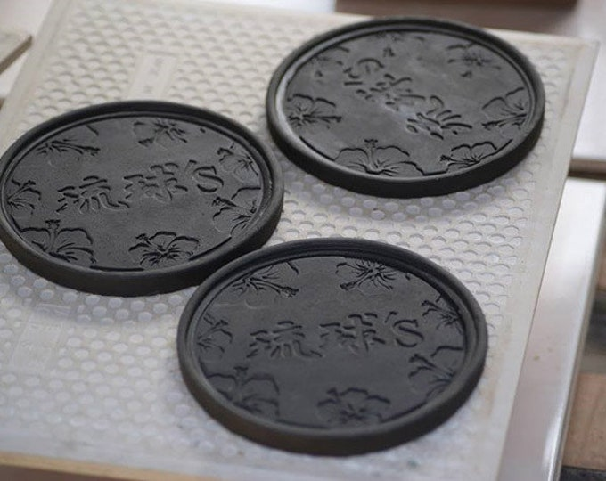 Custom bulk order - coaster made of roof tile clay from Okinawa| Made in Okinawa