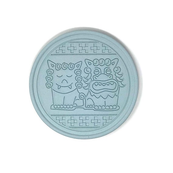 Coaster made of roof tile clay from Okinawa | Made In Japan | Pair Shisa (Cartoon-ish)