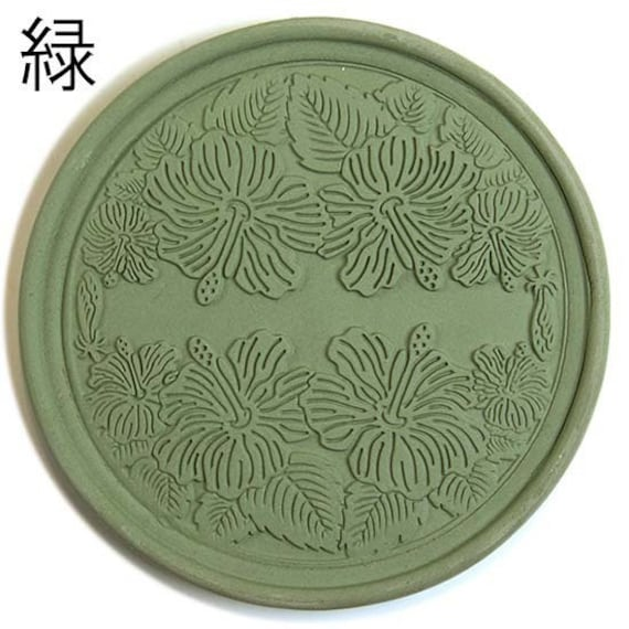 Coaster made of roof tile clay | Hibiscus