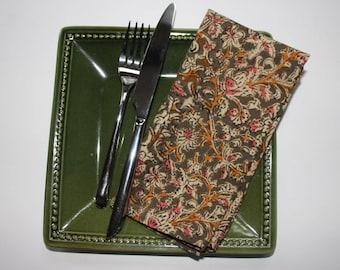 ON SALE - Green kalamkari cloth napkins - green cotton dinner napkins - christmas and holiday table linen