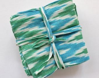 Ikat napkins - cotton dinner napkins - eco friendly cloth napkins - aqua tones - unique, rustic and boho