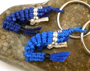 Small Macrame Shrimp Key Chain (Blue / White), Knot Shrimp Key Ring, Blue Bolt, Blue Bee, Macrame Shrimp Key Holder, Chinese Knot Fob