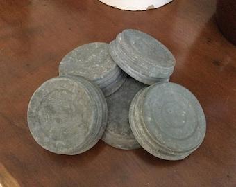 Vintage Zinc Canning Jar Lids with Milk Glass Liner-Set of 5-Unbarnded