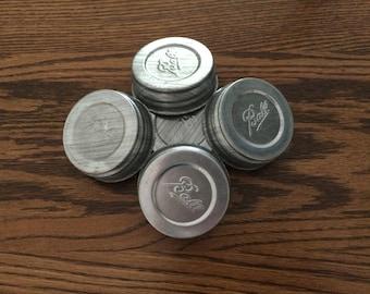 Vintage Ball Zinc Canning Jar Lids with Milk Glass Liner-Set of 5-Newer Stock