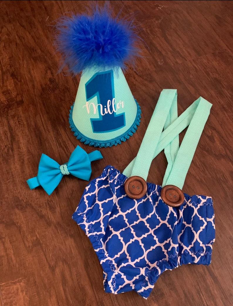 Enjoyable Custom Baby Boy Blue Birthday Smash Cake Outfit First Etsy Personalised Birthday Cards Bromeletsinfo