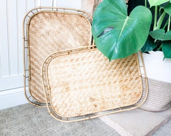 Set of 2 Vintage Bamboo Woven Serving Trays, Kitchenware, Barware, Serving, Dinnerware, Dinner Trays