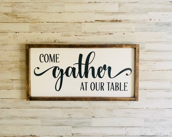 Come Gather At Our Table Framed Art Family Gathering Wall Decor Dining Room Place Sign Gath
