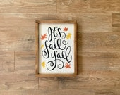 It 39 s Fall Y 39 all Autumn Decor Happy Fall Sign Fall Decor Wood Leaves Framed
