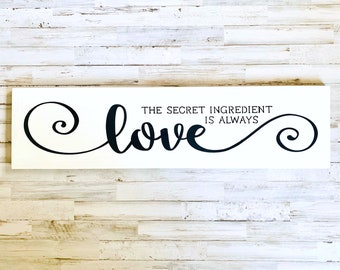 Secret Ingredient Is Always Love Rustic Kitchen Wood Sign Foodie Chef Home Decor Gift