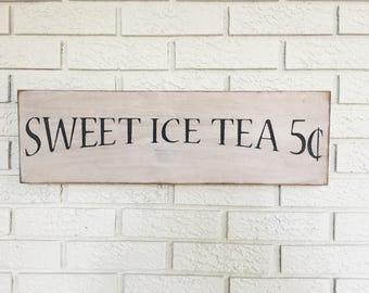 Sweet Ice Tea 5c - Rustic Wood Sign - Free Color Custimization - Farmhouse Kitchen - Farmhouse Decor - Southern Decor - County- Sweet Tea