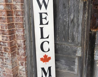 Wood Sign - Welcome - Fall Decor - Autumn Decor - Thanksgiving - Halloween - Harvest - Farmhouse Style - Leaves