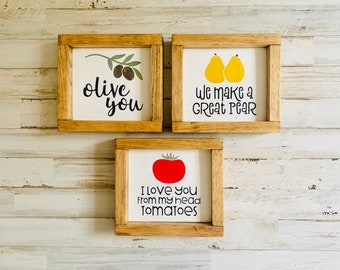 Kitchen Pun Signs   Olive You   I Love You From My Head Tomatoes   We Make A Great Pear   Funny Food Puns   Fun Kitchen Shelf Sitter