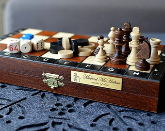 Medium Wooden Chess Set-Handmade-LeatherFelt Cover available-Personalization for FREE Economical Carved Personalized 14 35cm Stylish