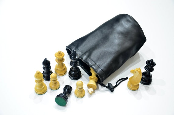 Famaus design Staunton nr.5;  3-12 8,9cm boxwood Chess PIECES Delux German Knight Ebonized