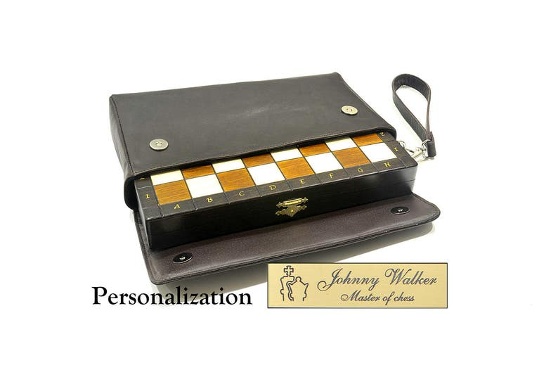 SALE  Personalized 11 Travel Magnetic Chess Set  image 0