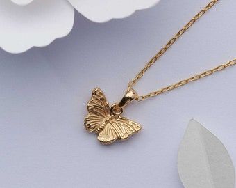 Small gold butterfly necklace. 18k gold on solid 925 sterling silver charm. Tiny gold vermeil nature inspired gift for her. Dainty necklace