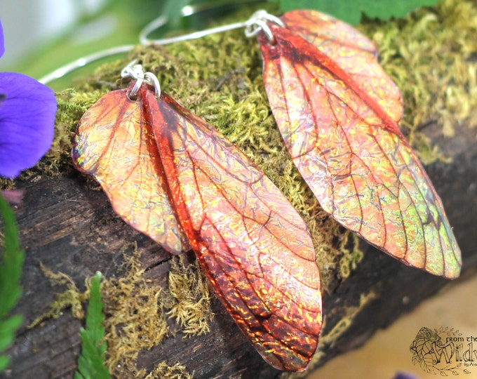 Autumnal Fairy Wing Earrings. Medium copper/bronze iridescent faerie wings on sterling silver ear wires.