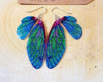 Sparkle Fairy Wing Earrings. Blue/Green iridescent glitter sparkle faerie wings on sterling silver ear wires.