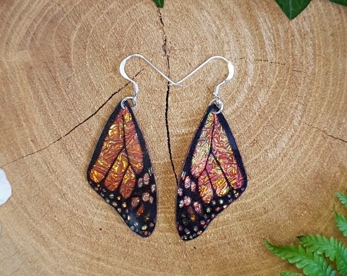 Featured listing image: Monarch butterfly wing earrings. Handmade cruelty free orange iridescent butterfly wings. Faux taxidermy jewellery.