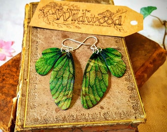 Medium Green Sparkle Fairy Wing Earrings. Magical forest faerie iridescent glitter sparkle wings on sterling silver ear wires.