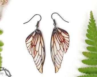 Fairy wing earrings. Vintage sepia lightweight faerie glitter wings.