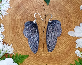 Medium black and silver sparkle fairy wing earrings. Handmade fantasy dark fae iridescent faerie wings on a choice of ear wires.