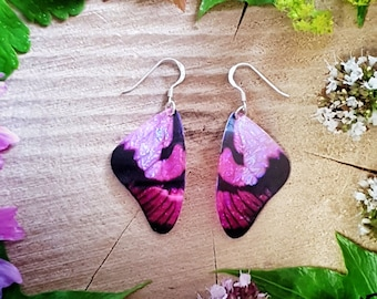 Pink butterfly wing earrings. Handmade cruelty free iridescent butterfly wings on a choice of ear wires. Faux taxidermy jewellery.