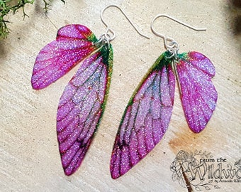 NEW Pink Sparkle Fairy Wing Earrings. Medium iridescent glitter sparkle faerie wings on sterling silver ear wires.