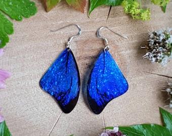 Blue morpho butterfly wing earrings. Handmade cruelty free iridescent butterfly wings. Bohemian, boho chic style jewellery.