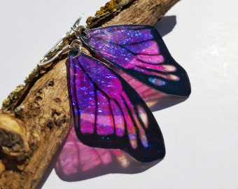 Purple iridescent butterfly wing earrings. Handmade realistic monarch butterfly wings. Cruelty free, bohemian, faux taxidermy jewellery.