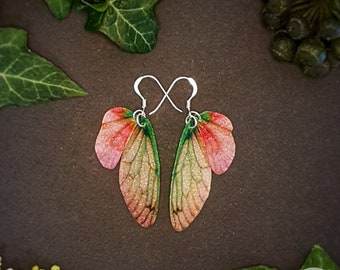 Small training wings. Small berry sparkle fairy wing earrings on a choice of ear wires.