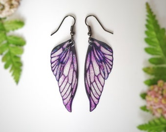 Fairy wing earrings. Purple lightweight glitter Faerie wings.