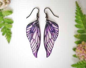 NEW fairy wing earrings. Purple lightweight faerie glitter wings.