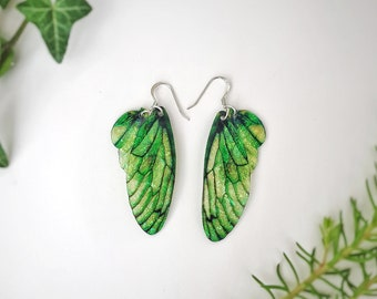 Medium Leaf Green Fairy Wing Earrings. Green iridescent faerie wings on sterling silver ear wires.