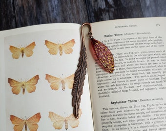 Fairy wing bookmark. Copper metal bookmark with an iridescent autumnal faerie wing charm. Handmade fantasy page marker.
