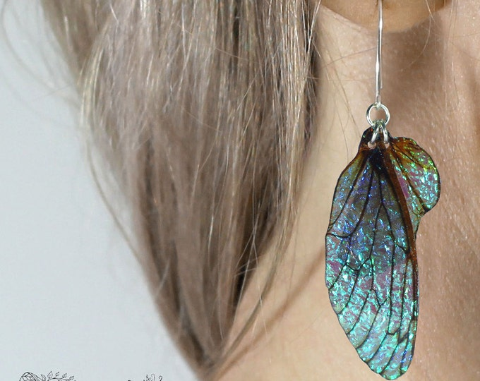 Medium Midnight Blue Fairy Wing Earrings. Iridescent faerie wings on sterling silver ear wires.