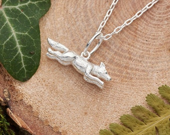 Silver fox necklace. Solid 925 sterling silver small 3D running fox charm pendant. Nature inspired jewellery gift for her. Dainty necklace