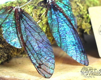 Large midnight blue fairy wing earrings, iridescent faerie wings on handmade sterling silver ear wires.