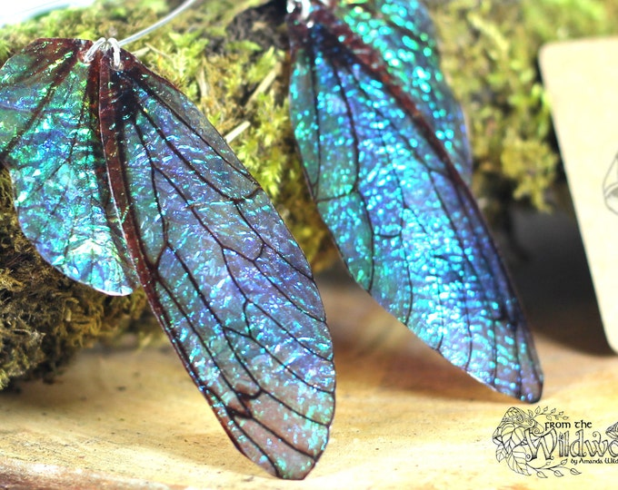 NEW Large midnight blue fairy wing earrings, iridescent faerie wings on handmade sterling silver ear wires.