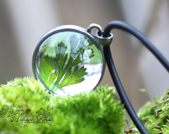 Forest floor, woodland  fern glass orb necklace.