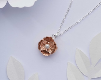 Poppy necklace. Solid 925 sterling silver, 18k rose gold poppy pendant. Birth flower gift for August birthday. Gold vermeil floral necklace.