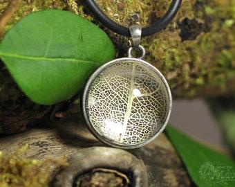 Forest floor leaf necklace, botanical glass orb terrarium necklace.