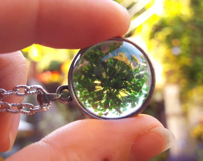 Green Queen Anne's Lace flower terrarium necklace.