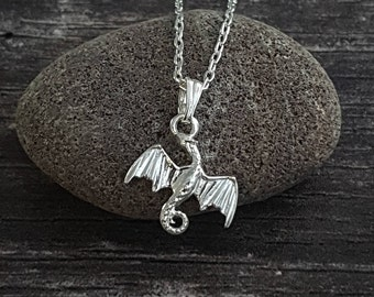Silver dragon necklace. Solid 925 sterling silver dragon pendant charm. Magical jewellery gift for her. Dainty necklace for fantasy lover