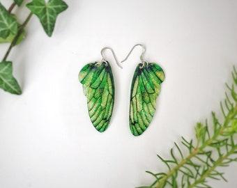 Medium Leaf Green Fairy Wing Earrings. Green iridescent faerie wings.