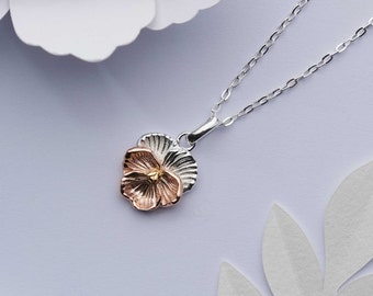 Rose gold and silver violet flower necklace. 18k gold on solid 925 sterling silver charm. Dainty rose gold vermeil birth flower for February