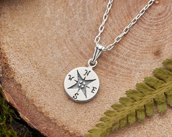 Silver compass necklace. Solid 925 sterling silver compass pendant. New direction travel gift for her or him. Unisex dainty minimal necklace