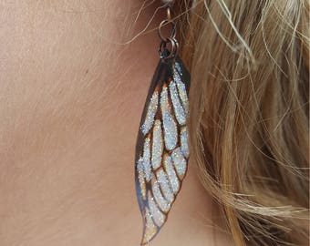 Fairy wing earrings. Vintage sepia lightweight faerie glitter wings.
